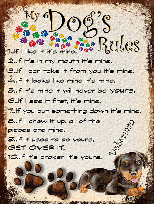 Doberman Gift My Dogs Rules Retro Metal Sign / Fridge Magnet Shabby Chic
