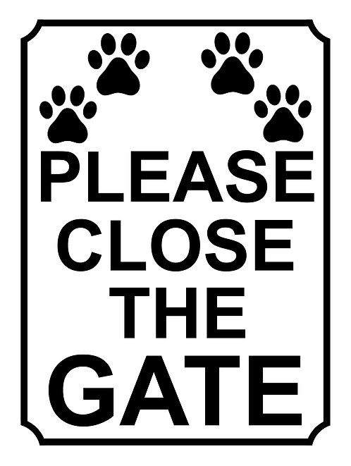 Please Close The Gate Paw Print Theme Yard Sign Garden Fence