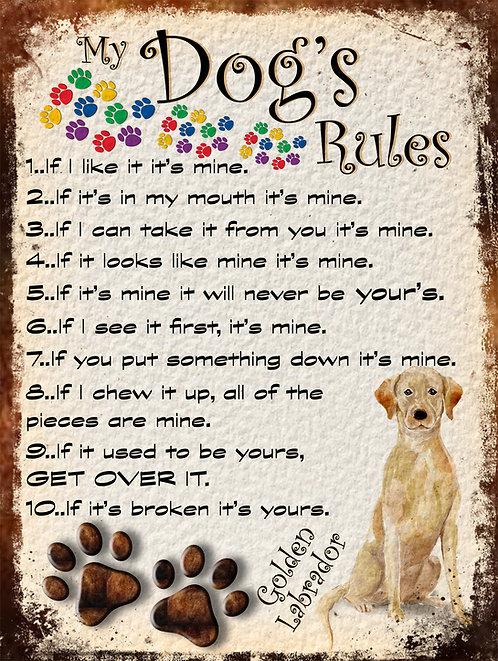 My Dogs Rules Golden Labrador, Retro Metal Sign / Fridge Magnet