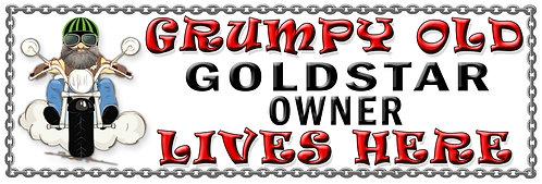 Grumpy Old GoldStar Owner,  Humorous metal Plaque 267mm x 88mm