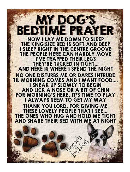 French Bulldog My Dogs Bedtime Prayer Retro Metal Sign / Fridge Magnet