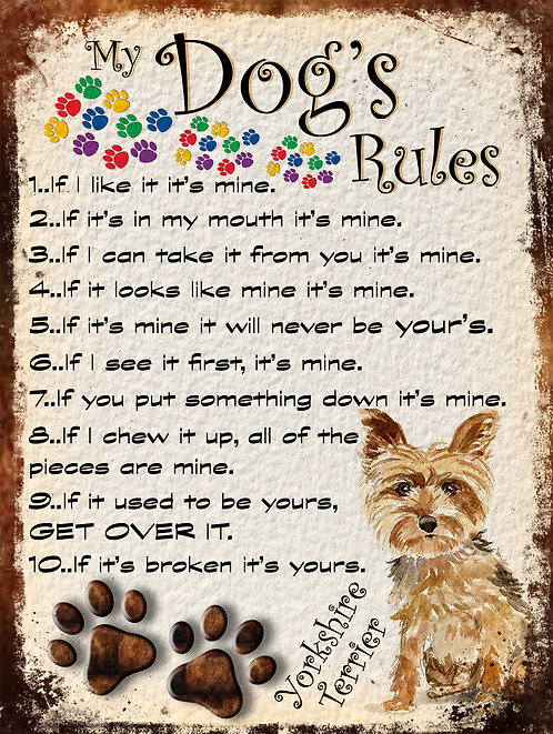 Yorkshire Terrier My Dogs Rules Retro Metal Sign / Fridge Magnet Shabby Chic