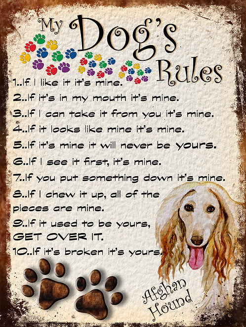 Afghan Hound My Dogs Rules Retro Metal Sign / Fridge Magnet Shabby Chic