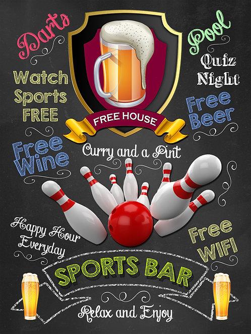 Sports Bar Pins, Retro Metal Sign / Fridge Magnet Pub Bar Man Cave