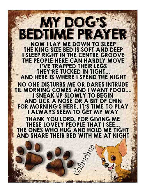 Chihuahua My Dogs Bedtime Prayer Retro Metal Sign / Fridge Magnet