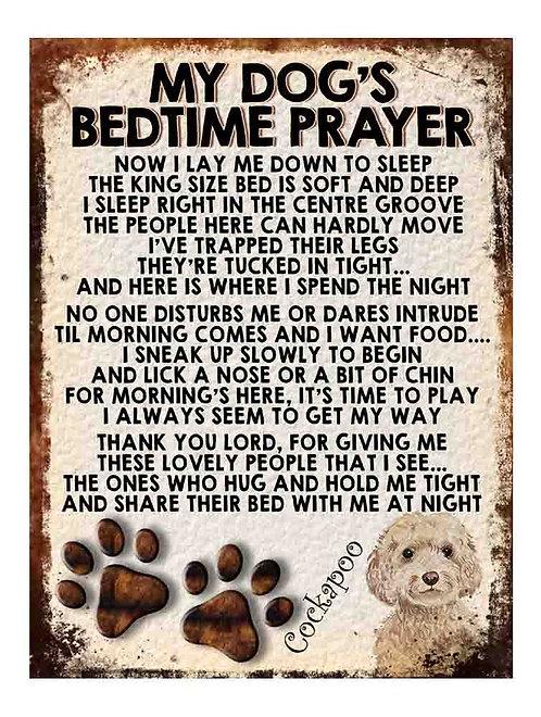 Cockapoo Gift My Dogs Bedtime Prayer Retro Metal Sign / Fridge Magnet