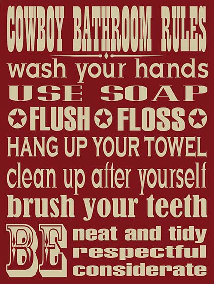Cowboys Bathroom Joke, Retro Metal Sign / Fridge Magnet