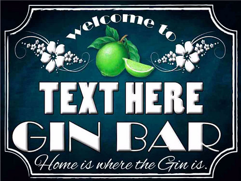 Gin Bar Sign Personalised, Retro Metal Sign