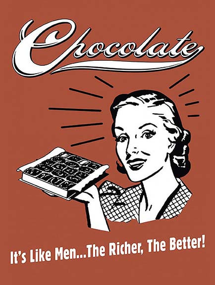 Chocolate Like Men The Richer The Better Funny, Retro Metal Sign / Fridge Mag
