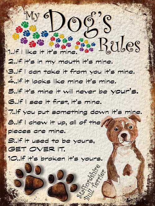My Dogs Rules Staffordshire Bull Terrier Retro Metal Sign / Fridge Magnet