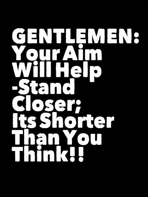 Gentle Men Aim Joke, Retro Metal Sign / Fridge Magnet Pub Bar Man Cave