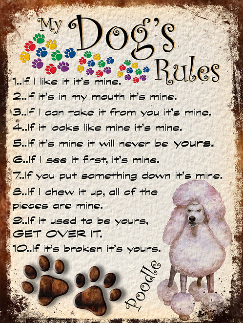 Poodle Gift My Dogs Rules Retro Metal Sign / Fridge Magnet Shabby Chich