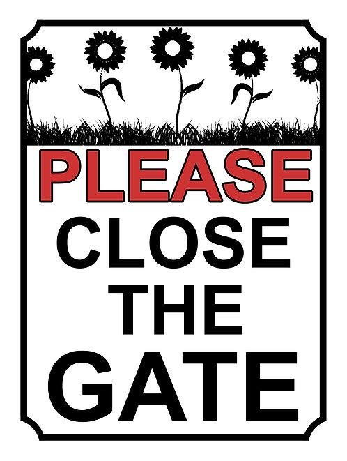 Please Close The Gate  Sunflower Theme Yard Sign Garden
