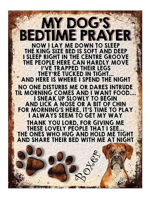 Boxer My Dogs Bedtime Prayer Retro Metal Sign / Fridge Magnet