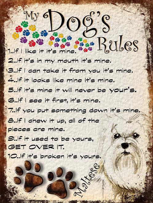 Maltese My Dogs Rules Retro Metal Sign / Fridge Magnet Shabby Chic