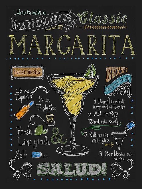 Margarita, Retro Metal Sign / Fridge Magnet Bar Pub Cocktail