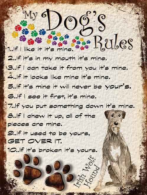 Irish Wolf Hound My Dogs Rules Retro Metal Sign / Fridge Magnet Shabby Chic
