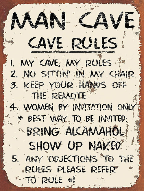 Man Cave Rules, Retro Metal Sign / Fridge Magnet Bar Man Cave