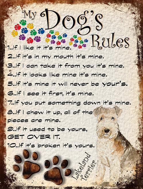 Lakeland Terrier My Dogs Rules Retro Metal Sign / Fridge Magnet