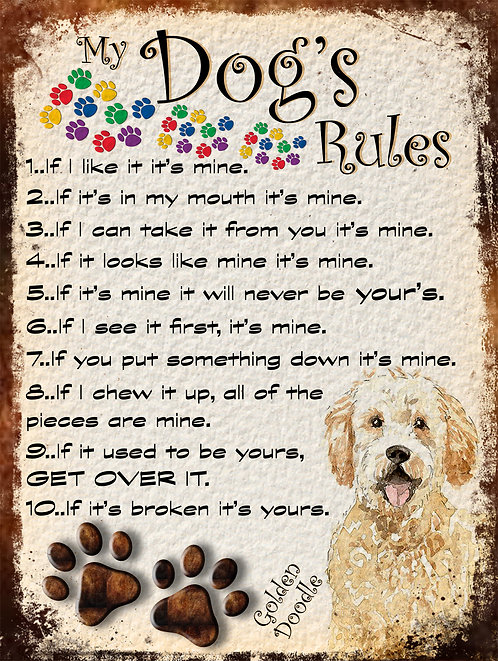 Golden Doodle My Dogs Rules Retro Metal Sign / Fridge Magnet Shabby Chic
