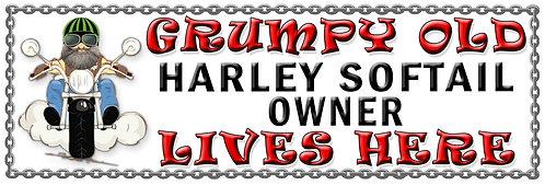 Grumpy Old Harley Softail Owner,  Humorous metal Plaque 267mm x 88