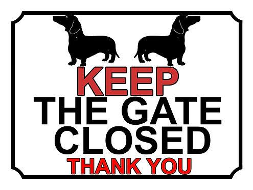 Keep The Gate Closed Thankyou Dachshund Silhouette Theme Yard Sign Garde