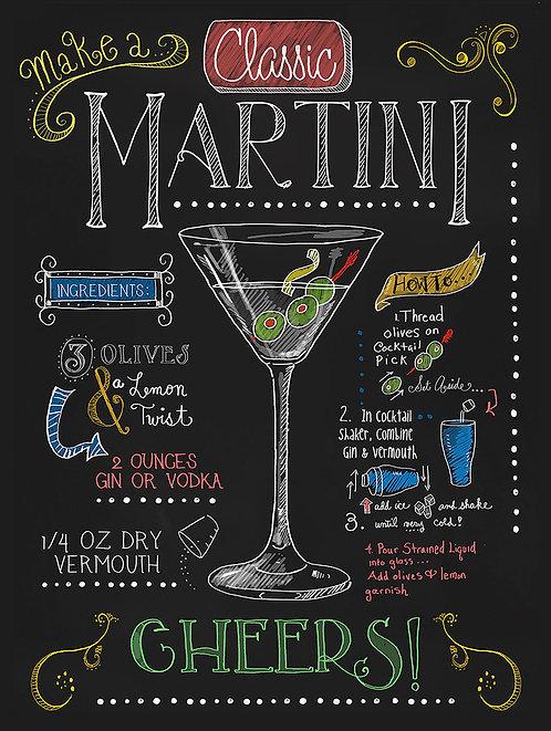 Martini, Retro Metal Sign / Fridge Magnet Pub Bar Man Cave