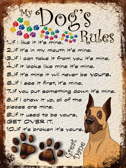 Great Dane Gift My Dogs Rules Retro Metal Sign / Fridge Magnet Shabby Chic