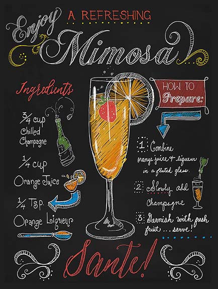 Mimosa, Retro Metal Sign / Fridge Magnet Bar Pub Cocktail