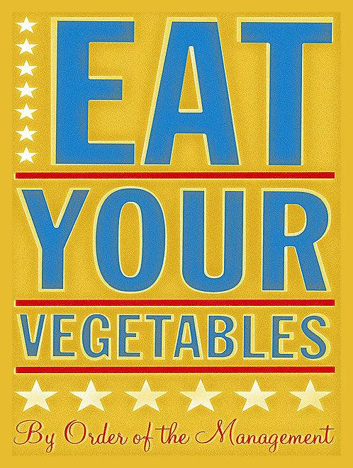 Eat Your Vegetables, Retro Metal Sign / Fridge Magnet Pub Bar Man Cave