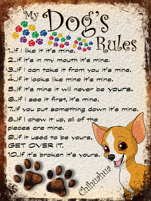 Chihuahua Gift My Dogs Rules Retro Metal Sign / Fridge Magnet Shabby Chic