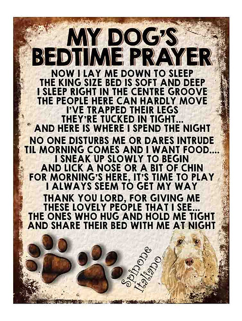 Spinone Italiano My Dogs Bedtime Prayer Retro Metal Sign / Fridge Magnet