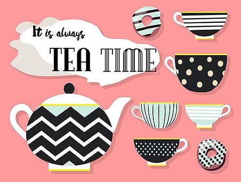 It's Always Tea Time, Retro Metal Sign / Fridge Magnet