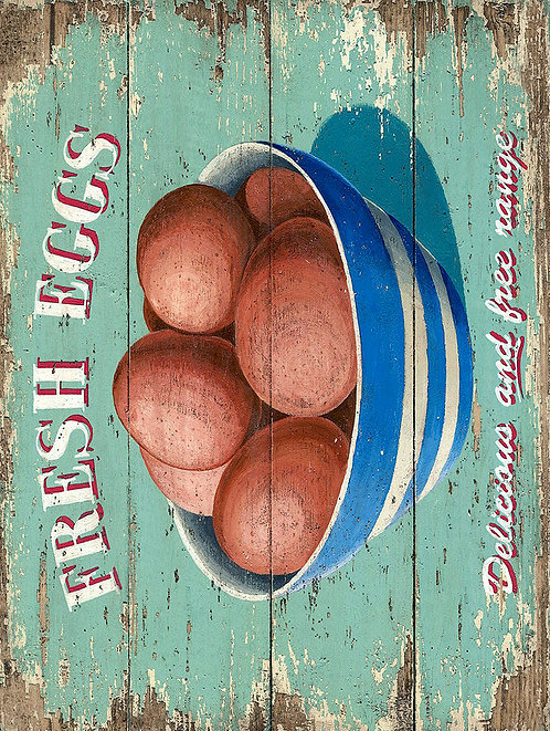 Fresh Eggs, Retro Metal Sign / Fridge Magnet Pub Bar Man Cave