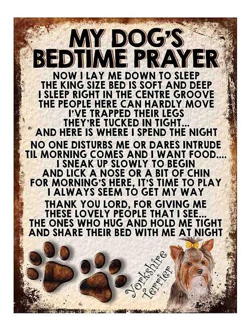 Yorkshire Terrier My Dogs Bedtime Prayer Retro Metal Sign / Fridge Magnet