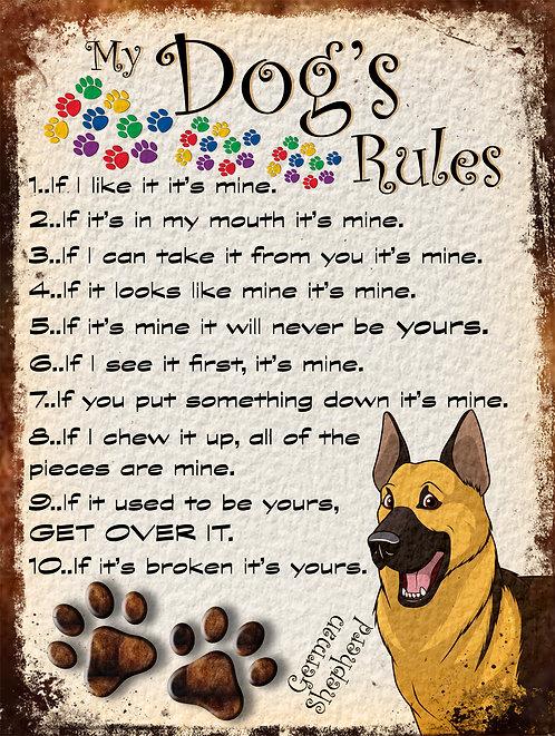 German Shepherd Gift My Dogs Rules Retro Metal Sign / Fridge Magnet Shabby Chic
