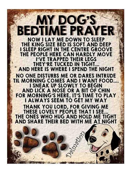 Dalmation My Dogs Bedtime Prayer Retro Metal Sign / Fridge Magnet