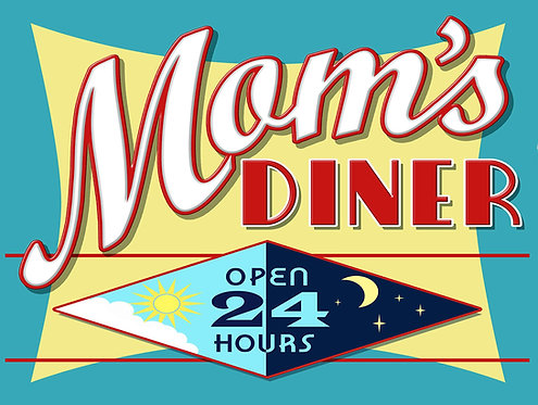 Mom's Diner, Retro Metal Sign / Fridge Magnet Pub Bar Man Cave