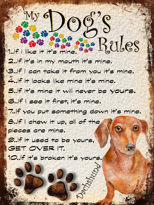 Dachshund Gift My Dogs Rules Retro Metal Sign / Fridge Magnet Shabby Chic
