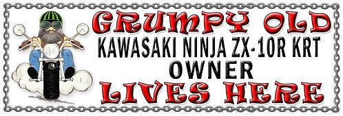 Grumpys Old Kawasaki Ninja ZX-10R KRT Owner,  Humorous metal Plaque 267mm x 88mm