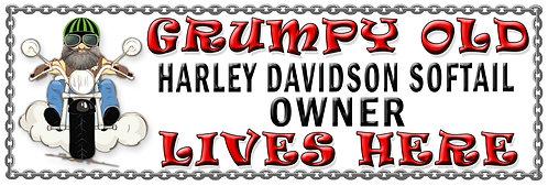 Grumpys Old Harley Davidson Softail Owner, Humorous metal Plaque 267mm x 88mm