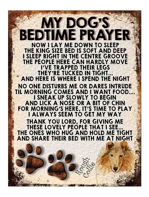 Rough Collie My Dogs Bedtime Prayer Retro Metal Sign / Fridge Magnet
