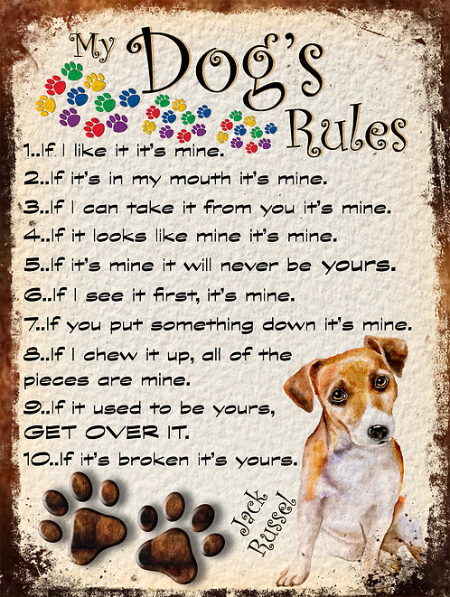 Jack Russel Gift My Dogs Rules Retro Metal Sign / Fridge Magnet Shabby Chich