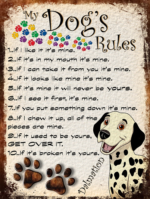 Dalmation Gift My Dogs Rules Retro Metal Sign / Fridge Magnet Shabby Chic