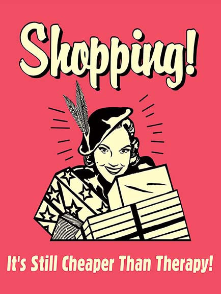Shopping Still Cheaper Than Therapy Funny, Retro Metal Sign / Fridge Magnet