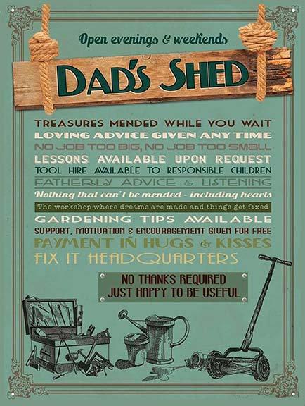 Dads Shed, Retro Metal Sign / Fridge Magnet Bar Man Cave