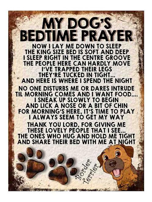 Border Terrier My Dogs Bedtime Prayer Retro Metal Sign / Fridge Magnet
