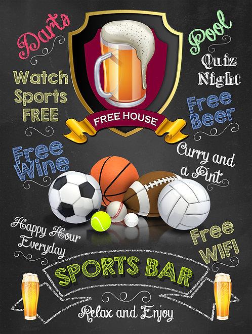 Sports Bar balls, Retro Metal Sign / Fridge Magnet Pub Bar Man Cave