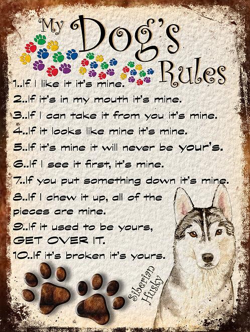 Siberian Husky My Dogs Rules Retro Metal Sign / Fridge Magnet Shabby Chic