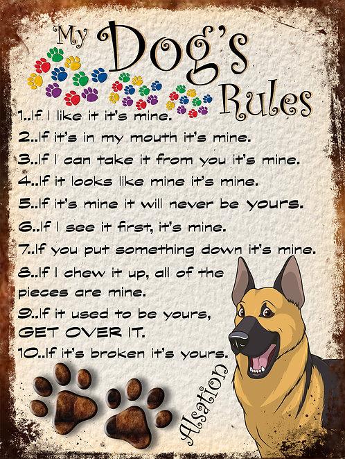 Alsation Dog 2  My Dogs Rules Retro Metal Sign / Fridge Magnet Shabby Chic